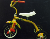 custom painted yellow tricycle